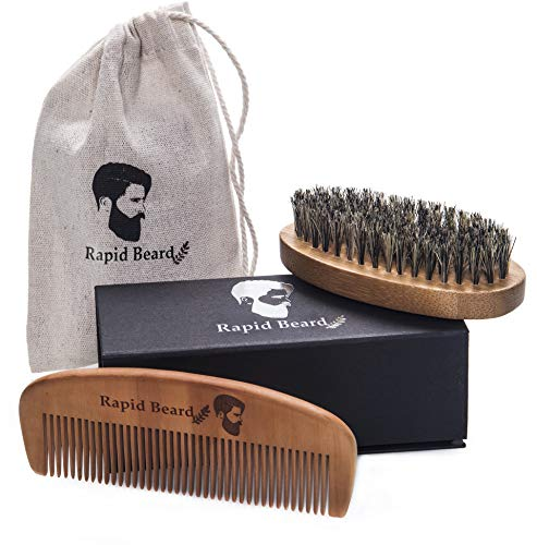 Beard Brush and Beard Comb kit for Men Grooming, Styling & Shaping - Handmade Wooden Comb and Natural Boar Bristle Beard Brush Gift Set for Men Beard & Mustache Care Gift Set