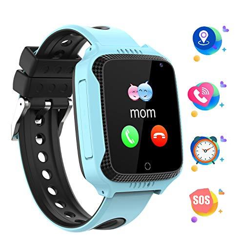 GPS localizador Reloj Inteligente para Niños Telefono, Tracker Podómetro Anti-pérdida Para Chico chica, Perímetro de Seguridad Cámera SOS Linterna Juegos Digitales Regalo de 3 a 13 años, GM11 Azul