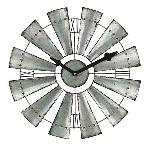 Lamyanran Home Silent Indoor Wall Clock American nostalgic pastoral Rustic Metal Windmill Round windmill Wall Clock ,Vintage Country Farmhouse style Decor for Kitchens Living Rooms (Size : 48CM)