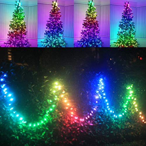 Outdoor String Lights Waterproof Color Changing Dream Rainbow Lights Colored Decorative Twinkle Light with APP for Christmas Tree Patio Porch Backyard Garden Bedroom Xmas Decor (100led)