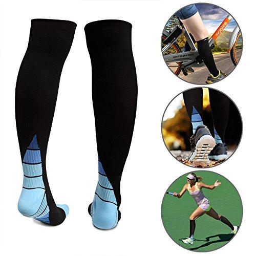 Arrutesk Calze contenitive per le donne e gli uomini, incrementare la resistenza, la circolazione e il recupero, medico laureato con calza contenitive in calzini sportivi sport (S&M Black&Blue (Women 4-6,5 / Men 4-8))