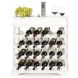 HOMFA Weinregal Flaschenregal für 24 Flaschen Weinhalter Weinständer Flaschenständer Weinflaschenhalter weißes Holz 70x70x22