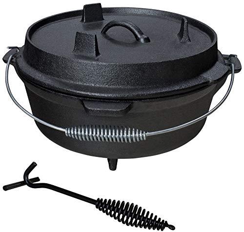 Grillmaster Gusseisen Dutch Oven Feuertopf Grill Lagerfeuer Topf mit Deckelheber eingebrannt 6 L
