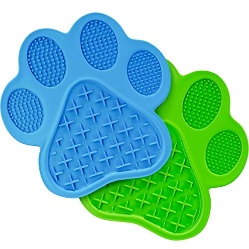 Dog Lick Mat | Dog Toy and Cat Slow Feeder | Includes 2 Lick Mats | Perfect Dog Toy | Slow Feeder for Anxious Animals Use Peanut Butter or Yogurt for Grooming Bathing Nail Trimming