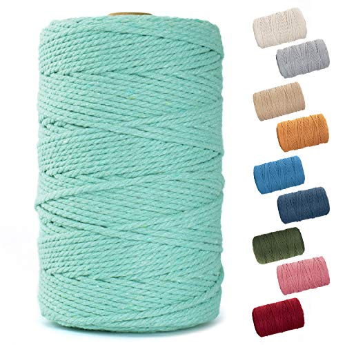 Nook Theory Macrame Cord 3mm - Flexible & Soft Rope Perfect for Knots - Macrame Supplies for DIY Wall Hangers, Plant Holders & Boho Home Decorations - Arts & Crafts Essentials - 220 Yards - Mint
