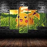 wodclockyui Leinwanddrucke 5 stück- Pikachu Pokémon
