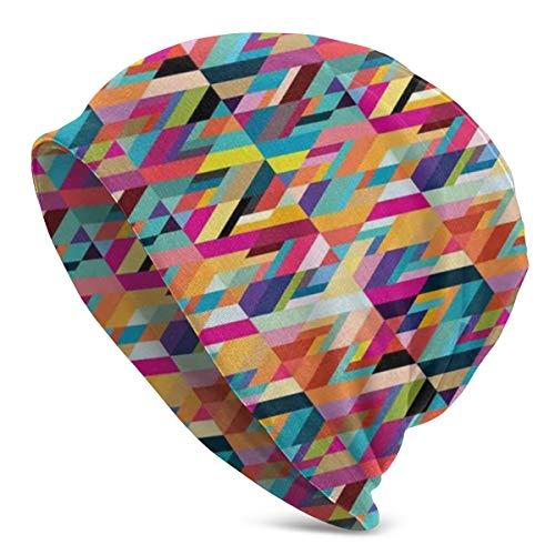 Top Level Beanie Men Women - Bauhaus Style Pattern of Geometric Shapes As Colorful Diagonal Tiles Modern Print - Unisex Cuffed Plain Skull Knit Hat Cap