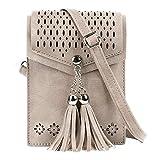 seOSTO Womens Small Crossbody Bag, Tassel Cell Phone Purse Holder Wallet Creative Birthday Gifts For teenage Girls(Beige)