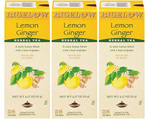 Bigelow Lemon Ginger Herbal Tea Bags 28-Count Box (Pack of 3) Lemon Ginger Tea Bags Herbal Tea All Natural Gluten Free