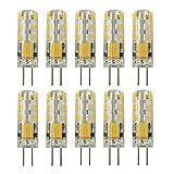 Rayhoo 10pcs G4 LED Bulbs JC Bi-Pin Base Light Lamps 1.5 Watt AC/DC 12V 10W-20W T3 Halogen Track Bulb Replacement Landscape Bulbs(Warm White 2800-3200K)