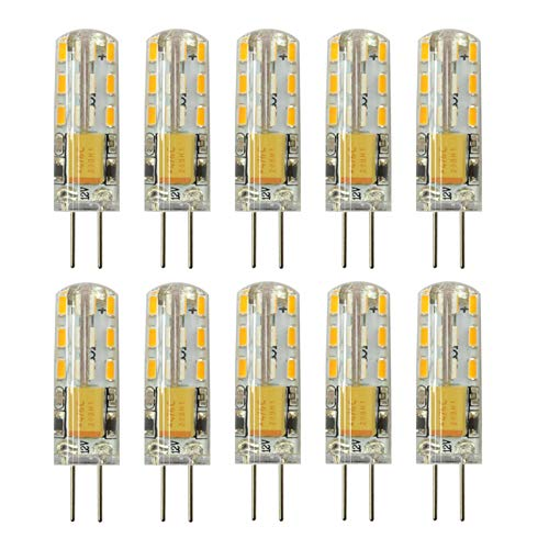 Rayhoo 10pcs G4 LED Bulbs JC Bi-Pin Base Lights 1.5W AC/DC 12V 10W-20W T3 Halogen Bulb Replacement Landscape Bulbs (Warm White 3000K)
