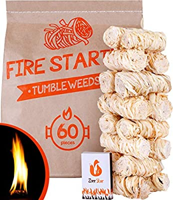 Tumbleweeds fire Starter - Natural Fire Starters for Indoor Fireplace, Camping, Grill - Better Than Lighter Cubes and Firestarter Squares - 60pc