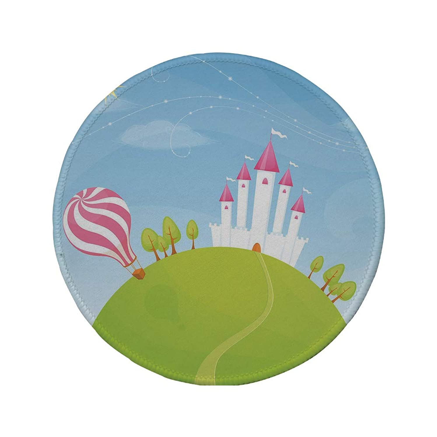 Non-Slip Rubber Round Mouse Pad,Cartoon Decor,Fantasy Castle on Top of The Hills and Hot Air Balloon in Sunny Sky Day Kids Art,Multi,11.8
