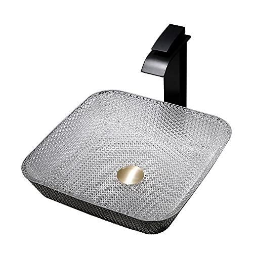 Fregadero de baño Fregadero de vidrio con grifo y empotrar el combo de drenaje, sobre el fregadero de recipiente de tazón de tazón de vanidad para el gabinete de lavabo ( tamaño : A 6 piece set )