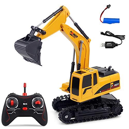 SayHia Excavadora RC de 7 Canales Completamente Funcional, Tractor de construcción con Control Remoto y Control Remoto eléctrico.
