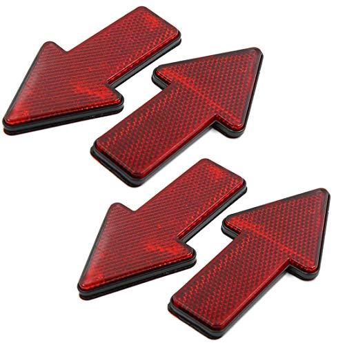 AUTUT Car Reflective Sticker Red Arrow Shape Vehicle Car Reflector Strips, Pack of 4