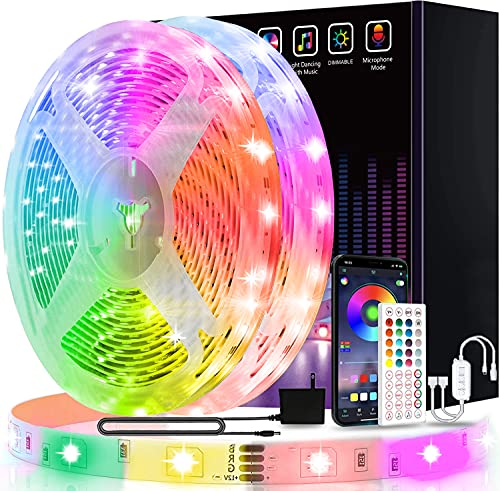 50ft Led Lights USTO Music Sync Color Changing Led Strip Lights Led Lights Strip with Phone App Control and Remote Led Lights for Bedroom Living Room Party Home Decoration