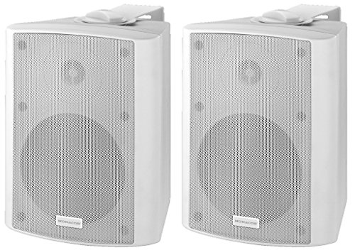 Monacor MKA-50SET/WS actief 2-weg stereo luidsprekerbox-systeem, een actieve en een passieve box in set van 2, magnetisch afgeschermde luidspreker incl. Auto-stand-by functie, 2 x 20 W, in wit