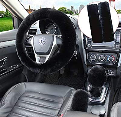 Pinbola 5pcs in 1 Set Faux Wool Steering Wheel Cover Soft Fluffy Handbrake Cover & Gear Shift Cover & 2pcs Seat Belt Shoulder Pads Warm Universal Fit for 15 Inch (Black)