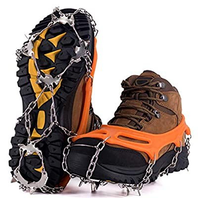 NewDoar Ice Cleats Crampons Traction,19 Spikes Stainless Steel Anti Slip Ice Snow Grips for Women, Kids, Men Shoes Boots, Safe Protect for Mountaineering, Climbing, Hiking, Walking, Fishing,(Orange,L)