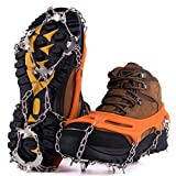 NewDoar Ice Cleats Crampons Traction,19 Spikes Stainless Steel Anti Slip Ice Snow Grips for Women, Kids, Men Shoes Boots, Safe Protect for Mountaineering, Climbing, Hiking, Walking, Fishing,(Orange,M)