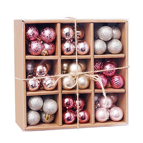 LPATTERN 99 Piezas/3cm Bolas de Navidad Adornos Navideños para Árbol Decoración Navideña Árbol Bolas Plástico Navidad,Rosa,20.5 * 20.5 * 9cm