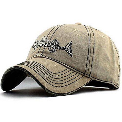 Mens Hat ⋆ Fishing Hat ⋆ Mens-Ball-Hats Baseball Cap Unstructured Logo Fish (Beige, 7 1/2 - XL - 60cm)
