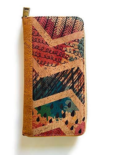 Portemonnee voor dames met ritssluiting – portemonnee met ritssluiting buiten van natuur/origineel uit Portugees kurk – ontwerp / blokkering van lezers (RFID) veganistisch
