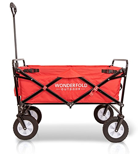 Everyday Sports Wonder Fold Outdoor Next Generation Utility Folding Wagon with Removable Polyester Bag, Spring Bounce Feature, Auto Safety Locks, 180 Degree Steering Telescoping Handle Performance, Scarlet Red