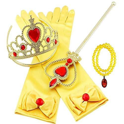 Remebe Conjunto de Accesorios de Disfraces de Princesa con Collar de cetro de Elsa, Pendientes, Guantes, Guantes para niños de 3 a 9 años, niñas