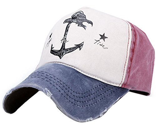 Belsen Damen Vintage Anker Baseball Cap Snapback Trucker Hat (Marine)