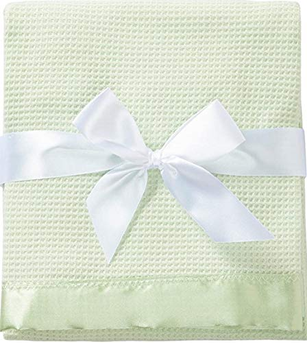 Toysdone Thermal Waffle Weave Baby Blanket with Satin Nylon Trim (Mint Green)