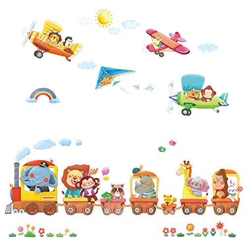 DECOWALL DAT-1406A1506B Tren de Animales y Biplanos Vinilo Pegatinas Decorativas Adhesiva Pared Dormitorio Saln Guardera Habitaci Infantiles Nios Bebs