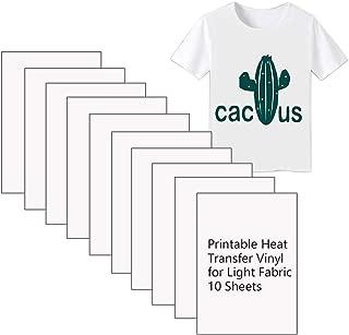 Printable Heart Transfer Vinyl Inkjet Printer Iron on HTV for Light Fabrics or White T-Shirts, A4 Size Pack of 10