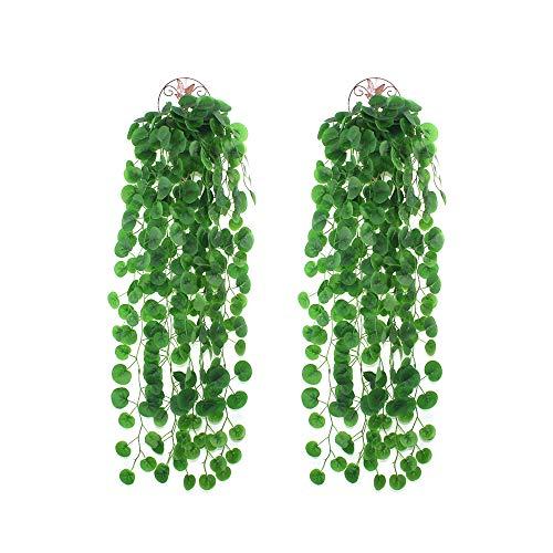 LUCY WEI 2 Stück Künstlich Efeugirlande,1m Lang Künstliche Hängend Pflanzen Künstlicher Efeu für Hochzeit Familie Garten Deko Zaun(Scindapsus)