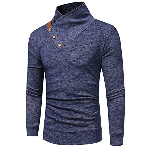Mens Pullover T Shirts Long Sleeve Casual Slim fit Autumn Jumpers Tops Stand Collar Spring Lightweight Sweatshirts Tee Popular Casual Wear Breathable Comfy Modern Top L
