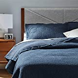 Rivet Modern Stone Washed Textured Geo Coverlet Bedding Set, King, Soft and Easy Care, 102' x 90', Indigo