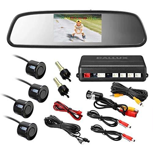 DALLUX Rearview Mirror Monitor Video Parking Sensor Kit,car Reverse Backup Radar,Black Sensor with 4.3 Inch Rearview Mirror Monitor Backup Reverse HD Night Vision Camera Parking Sensor kit