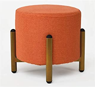YJWOZ Household Coffee Table Sofa Fabric Rest Stool Bedroom Metal Dressing Stool Living Room Round Shoe Bench Sofa Stool (Color : Orange)
