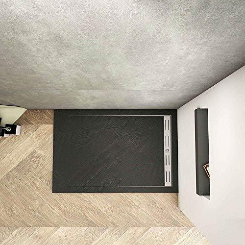 Piatto Doccia Nera Ruvida Rettangolare 70x80x3cm in Pietra Vulcanica e Resina Mista Ultraslim con Scarico Sifone Piletta
