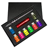 Calligraphy Pens Set Glass Dip Pen Ink Kits with Fluorescent & Invisible Ink Glass Pen Set for Beginners/Art/Writing/Decoration/Calligraphy/Gift