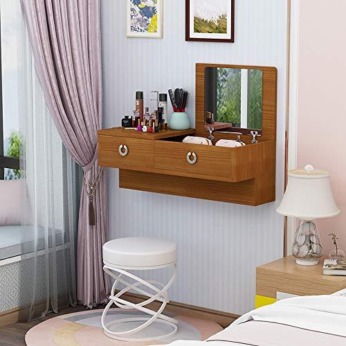 Montado en la pared Tocador Estante de la pared Estante flotante Mesita de noche dormitorio sala de estar Mesa de maquillaje cosmético joyería foto juguete Armario de almacenamiento Madera maciza