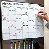 Large 17.5'x13.5' Dry-Erase Magnetic Monthly Calendar (Organizer/Planner) for Kitchen Fridge (Full Set: 8 Markers + Eraser) & Free Bonus: 3 Grocery/to-Do List Whiteboards (Stain Free) | Horizontal