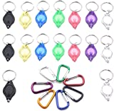 RaySoar (Pack of 16) Ultra Bright Mini LED Keychain Flashlight, White LED Keychain Light with 7 Colors Shell, Keychain LED Flashlight With Extra (Pack of 7) Colorful Carabiner Clip Hook