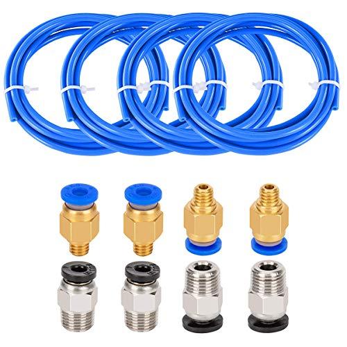 4 Stück PTFE Schlauch Blau Teflonschlauch, Vibury 1.5m PTFE mit 4 Stück PC4-M6 Pneumatik-anschlussstücke und 4 Stück PC4-M10 Verbinder für 3D-Drucker 1,75 mm Filament