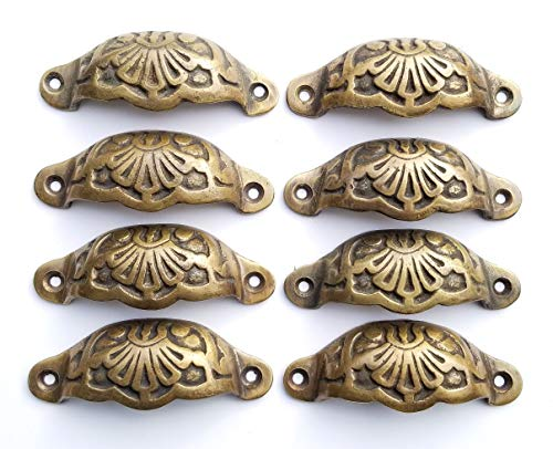 8 Solid Brass Apothecary Drawer Cup Bin Pulls Solid Brass Handles Antique Victorian Style 3 9/16'w. #A2