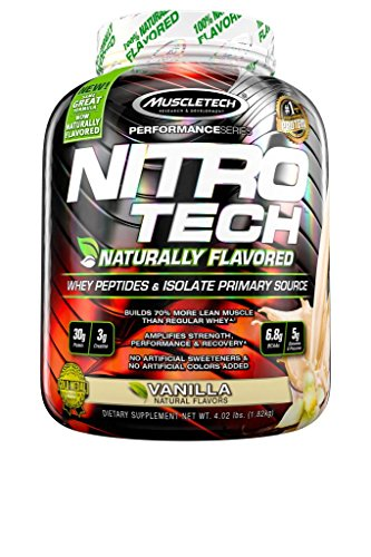 MuscleTech NitroTech Protein Powder Plus Muscle Builder, 100% Whey Protein with Whey Isolate, Natural Vanilla, 4 Pounds (41 Servings)
