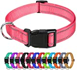 """TagME Reflective Nylon Dog Collars, Adjustable Classic Dog Collar with Quick Release Buckle for Puppy, Baby Pink, 3/8"""" Width"""