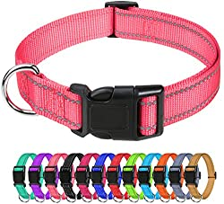 Premium Material: Our reflective dog collar is made of high density nylon, comfortable, pliable, lightweight and elegant. Nylon webbing joints are all treated with sewing to protect your dogs and hands are not easy to scratch during use. High Reflect...