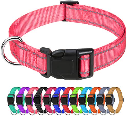 """TagME Reflective Nylon Dog Collars, Adjustable Classic Dog Collar with Quick Release Buckle for Medium Dogs, Baby Pink, 1.0"""" Width"""